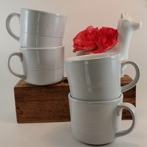 Ten Strawberry Street White Stoneware Mugs